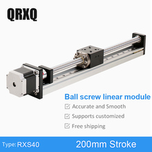 цена на RXS40 Ball Screw Horizontal Vertical Usage 200 mm Motorized Linear Motion Guide Rail Stepper Motor Slide Table