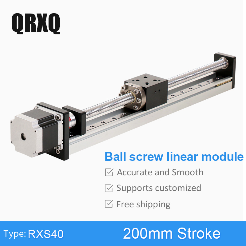 RXS40 Ball Screw Horizontal Vertical Usage 200 mm Motorized Linear Motion Guide Rail Stepper Motor Slide Table