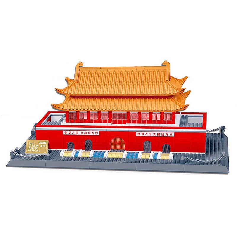 WanGe City เข้ากันได้กับสถาปัตยกรรม 5218 758pcs City Creator ปักกิ่ง Tian An Men Building Blocks อิฐของเล่น