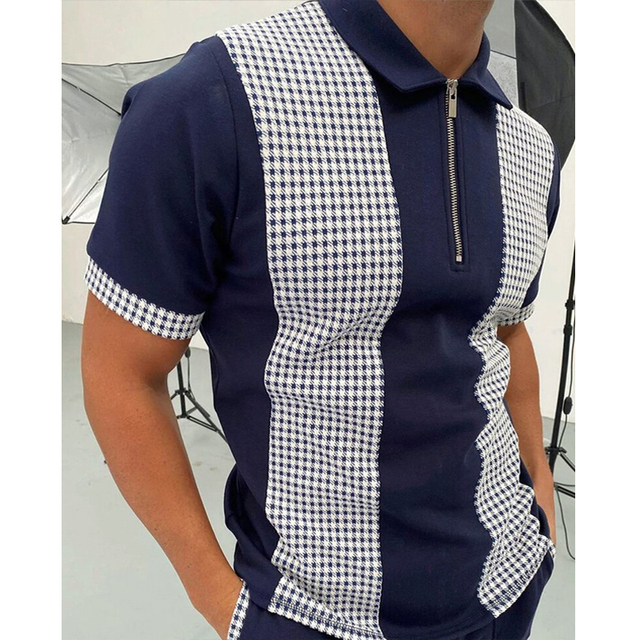 2021 Summer New Twill Men Polo Shirt Short Sleeve Oversized Loose Zipper Color Matching Clothes Luxury Male Tee Shirts Trip 5