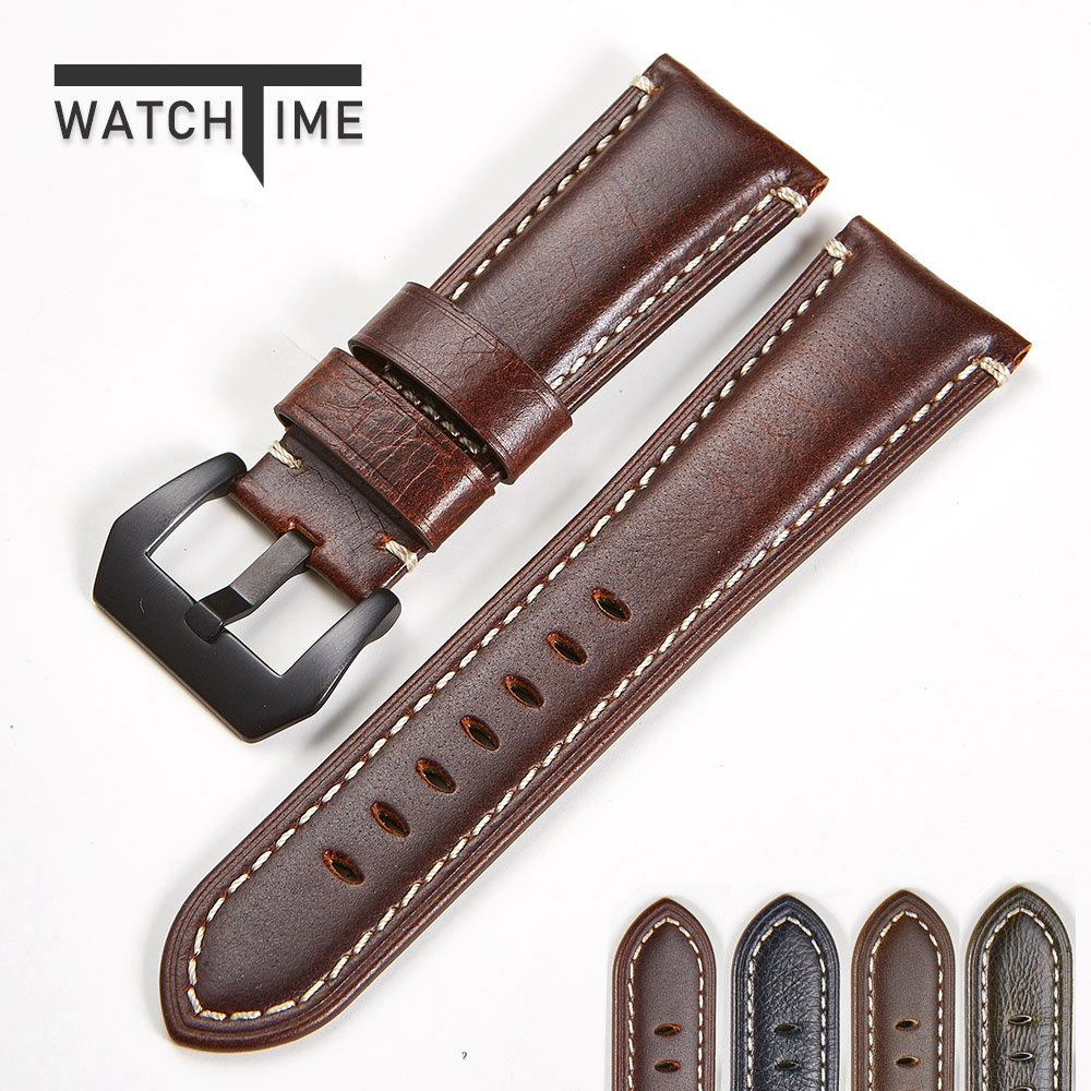Top Brand Watch Belt Vintage Handmade Genuine Leather Watch Strap 20mm 22mm 24mm 26mm Watch Band Crazy Horse Leather Watchband