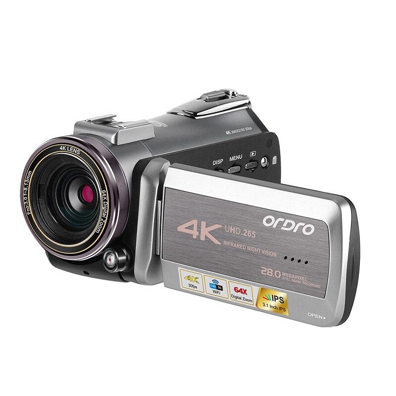 ORDRO AZ50 réel 4K 30FPS caméra vidéo H.265 Format vidéo prise en charge WIFI avec Microphone stéréo télescope 64GB carte SD cadeau