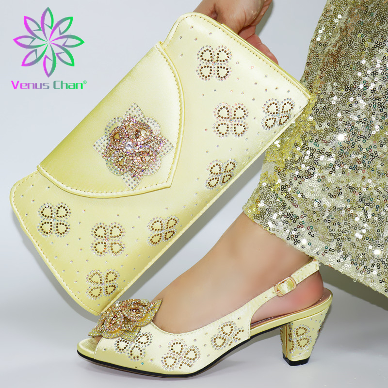 v1176 gold color Newest Italian design Shoes with Matching Bags for Wedding Nigerian Women Wedding Shoes and Bag Set