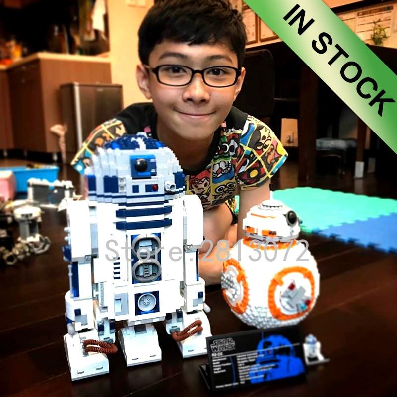 In Stock Star Wars Robot Series R2D2 BB8 WALL E 16003 05043 10906 687Pcs Ideas Model Building Blocks 10232 75187 10225 Toys