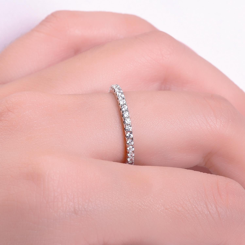 GEM'S BALLET 925 bague de mariage en argent Sterling éternité Moissanite anneau empilable pour les femmes bijoux fins (0.61Ct 1.5mm EF couleur)