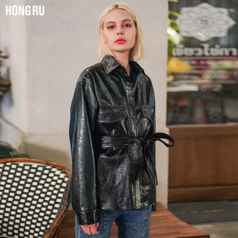 Fashion brand Burst crack pattern PU leather jacket new female loose motorcycle outerwear was thin pu jacket wq1233 dropship