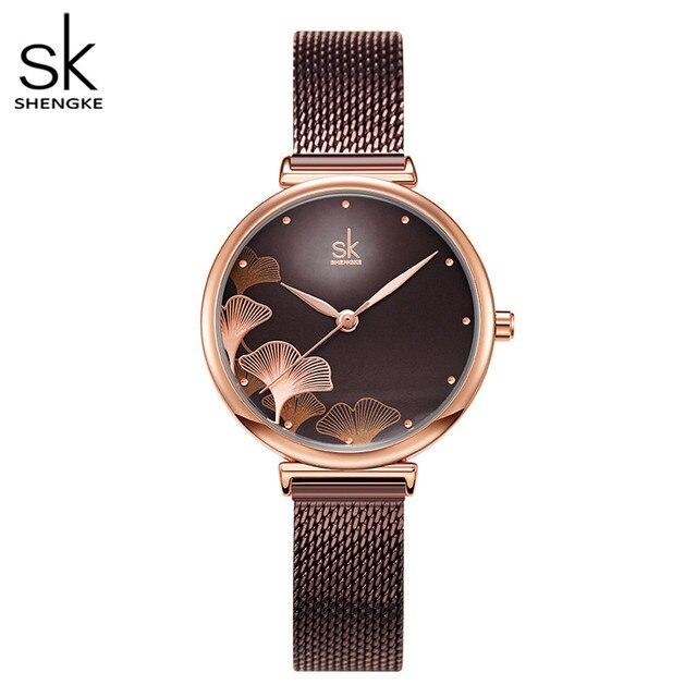 Женские часы в японском стиле с лепестками Shengke