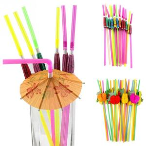 Image 2 - 50PCS 다채로운 형광 DIY 열 대 파티 장식 클럽 마시는 칵테일 웨딩 바 용품 3D 일회용 빨 대