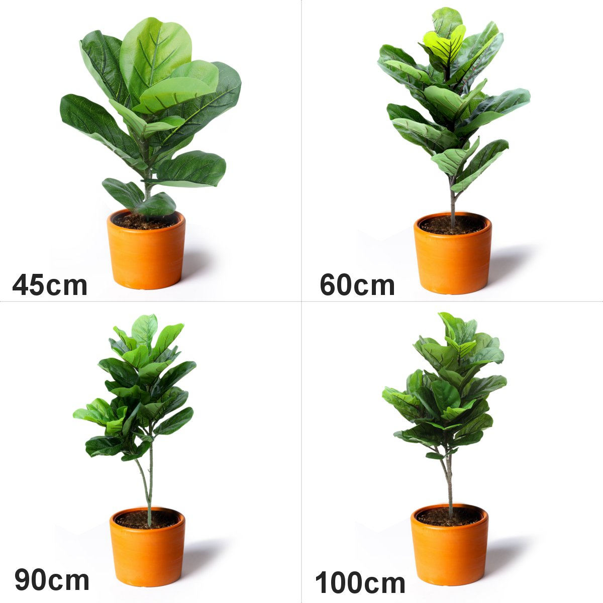 Plastic Artificial Plants Ficus Lyrata Green Leaves Potted Plant Home Wedding Party DIY Ornament Home Decoration Accessories