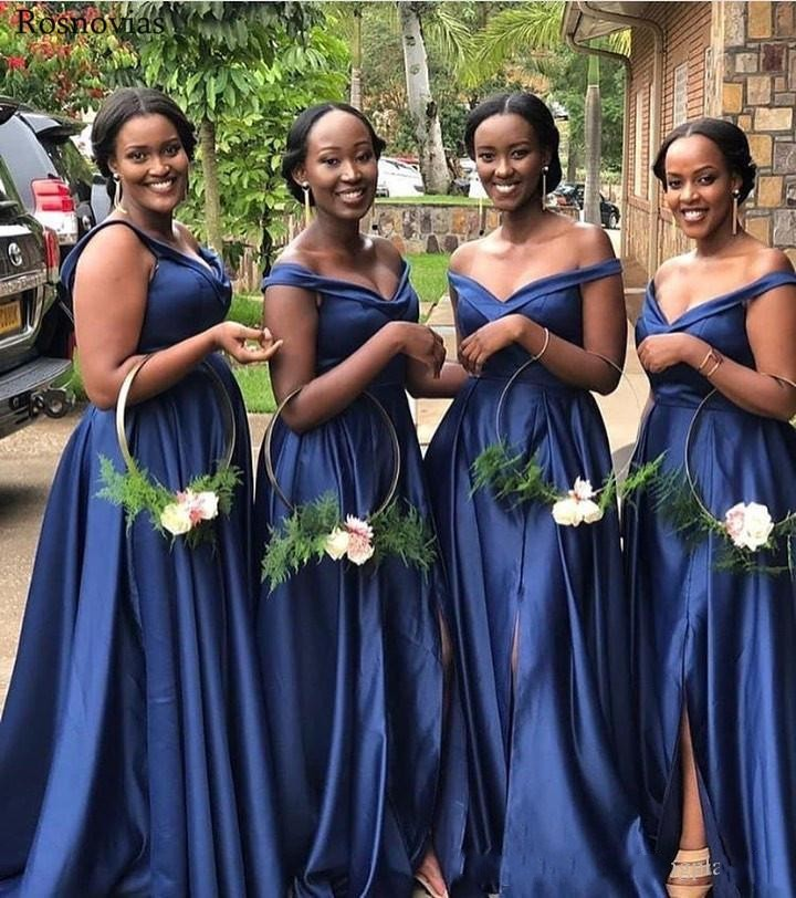Sexy Plus Size Dark Navy Arabic A Line Bridesmaid Dresses Long Off Shoulder Side Split Wedding Guest Dress Maid Of Honor Gowns