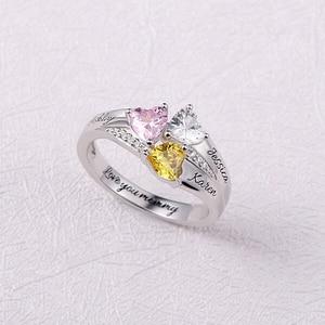 Sweey Прямая поставка Женские Ювелирные изделия на заказ именные кольца персонализированные кольца из серебра 925 пробы из камня для женщин по...
