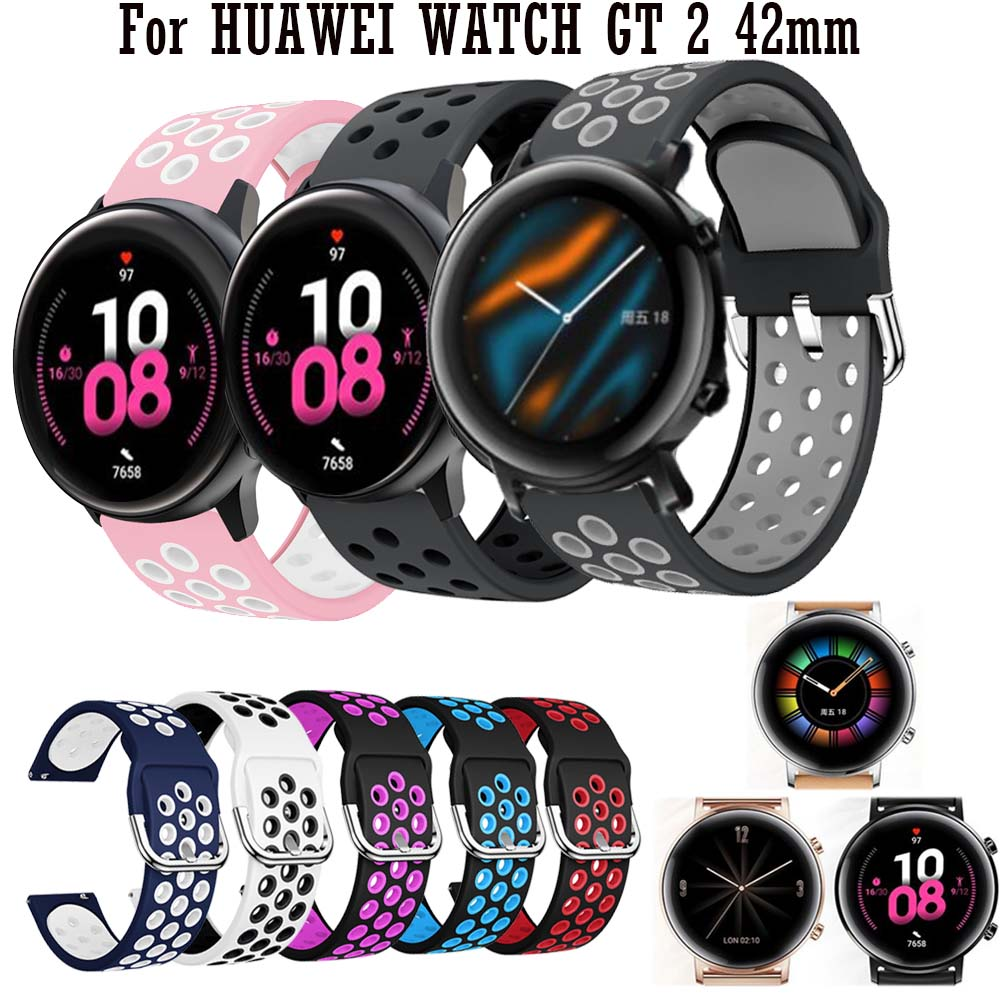 20mm Sport Colorful Silicone WatchBand For HUAWEI WATCH GT 2 42mm Smart Watch Replacement Strap For Samsung Galaxy Watch Active2