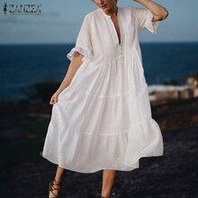 Ruffle Dress Short-Sleeve Two-Piece Elegant V-Neck Oversize Midi Casual Women Summer