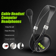 Double Hole Head-mounted Headset with Microphone New Wired Computer Sport Earphone OUJ99