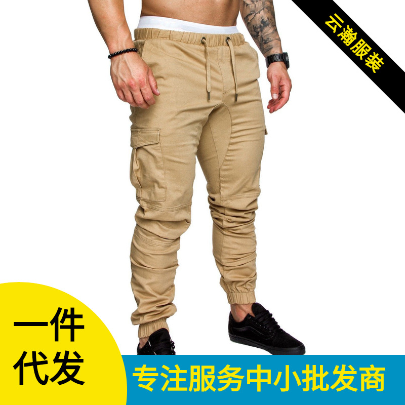 2019 Hot Selling Workwear Multi-pockets Trousers Men Woven Fabric Casual Pants Ankle Banded Pants K86