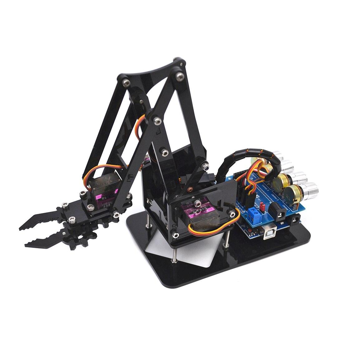 Robot acrílico DIY, garra Robot, Kit Arduino, 4DOF, Manipulador mecánico, triangulación de envíos Válvula de cierre de Manipulador automático de DC8V-DC16V para alarma, dispositivo de seguridad para tuberías de Gas y agua para cocina y baño