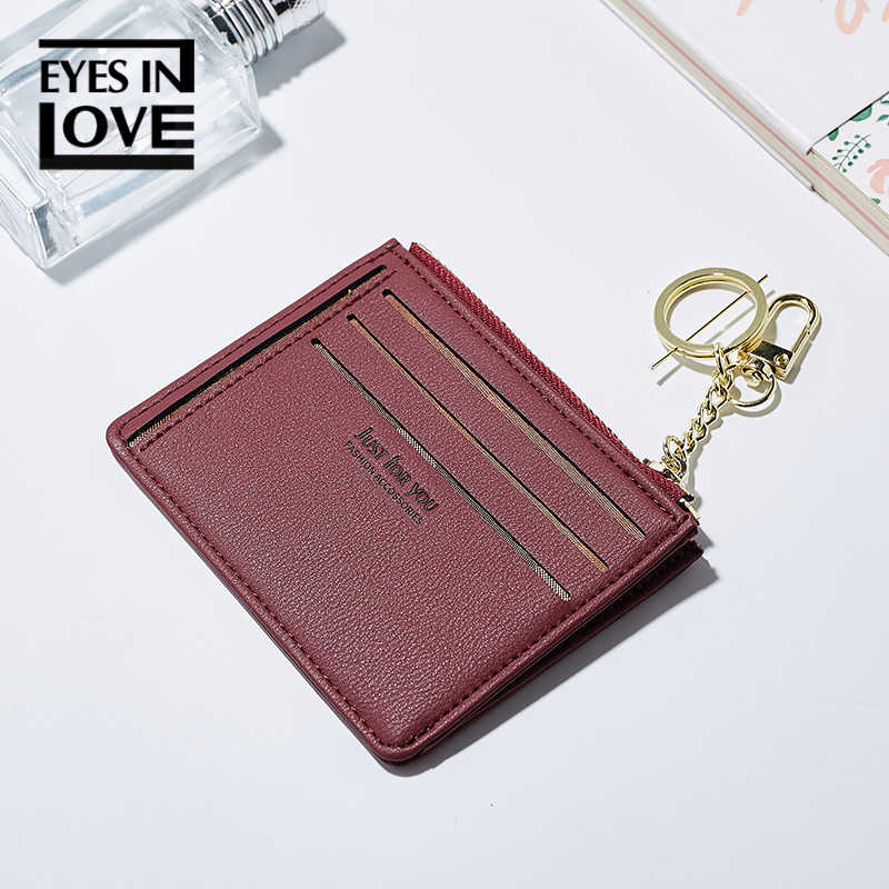 Nowe marki super cienkie mały portfel na karty kredytowe damski skórzany na klucze łańcuszek etui na dowód osobisty wąski portfel damski damski Mini portmonetka
