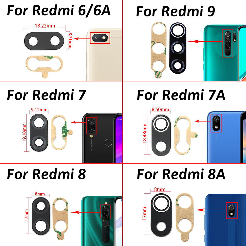 2 Pcs/Lot For <font><b>Xiaomi</b></font> Redmi S2 6 6A 7 7A 8 8A 9 <font><b>Mi</b></font> <font><b>A1</b></font> A2 A3 Rear Back <font><b>Camera</b></font> Lens <font><b>Glass</b></font> Cover with Adhesive Replacement Repair image
