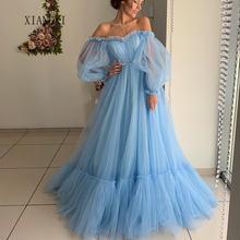 Женское вечернее бальное платье без рукавов голубое фатиновое