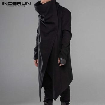 INCERUN Men Cloak Coats Streetwear Turtleneck Solid Long Sleeve Fashion Cape Outerwear Punk Style Irregular Jackets S-5XL