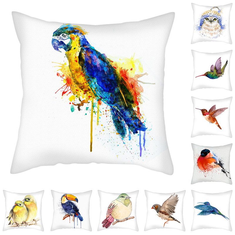 Fuwatacchi Woodpecker Printed Cushion Cover Owl Parrot Birds Pillows Cover Animals Polyester Pillowcase For Home Sofa Decoration