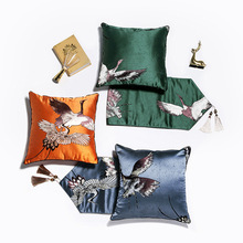 New Chinese Luxury Pillow Cover Red-crowned Crane Jacquard Satin Cushion Super-soft Home Sofa Bedroom Decoration 45x45