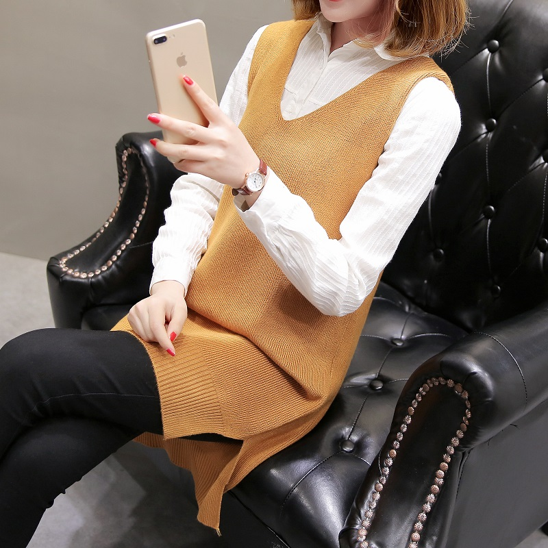 loose V-neck sweater, waistcoat and waistcoat, mid-long Pullover knitting for women in autumn and winter of 2020