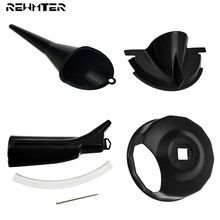 Motorcycle Oil Filter Funnel Set Primary Case Oil Fill Funnel Black Cap Wrench For Harley Touring Sportster XL 48 Dyna Softail