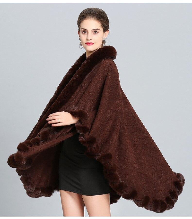 One Size Imitation Fox Fur Collar Shawl Cloak Jacket Female 2019 New Winter Warm Coat Women Long Ponchos And Cape Women Cardigan