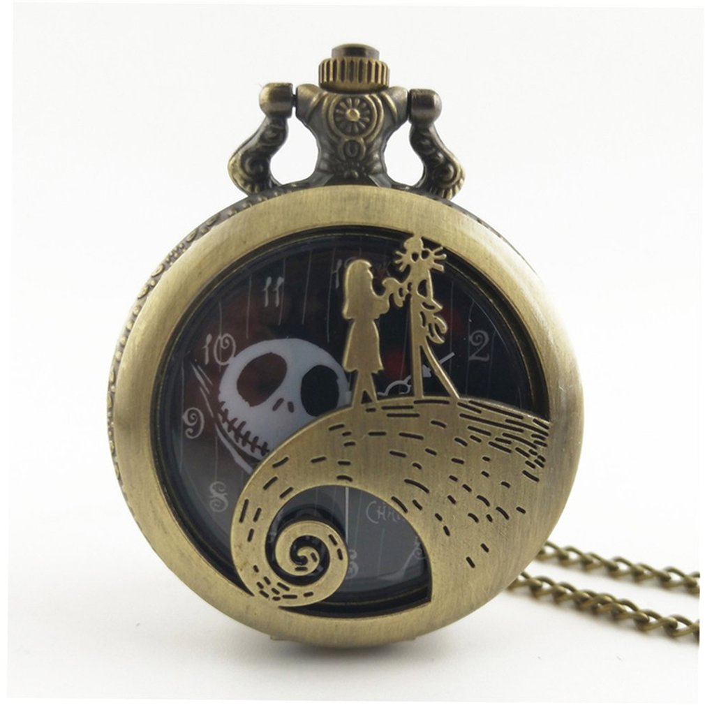Christmas Night Carved Vintage Antique Round Dial Quartz Pocket Watch Necklace Pendant Clock For Mens Womens Best GiftsN