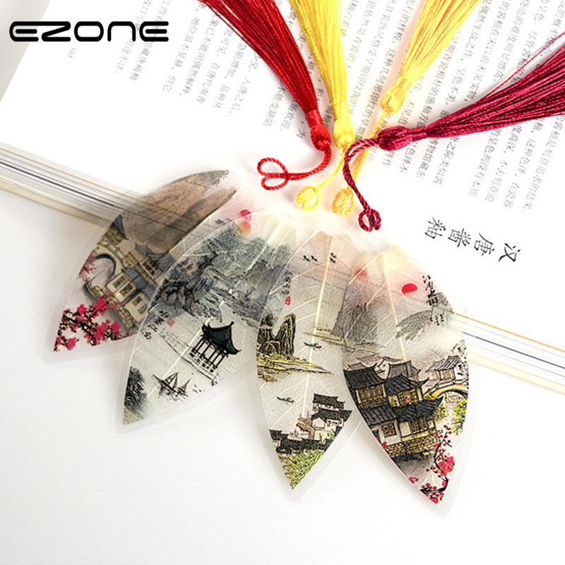 EZONE Chinese Antique Bookmarks Beautiful Tassel Bookmarks True Leaves Bookmarks Stationery School Office Supply 1PC