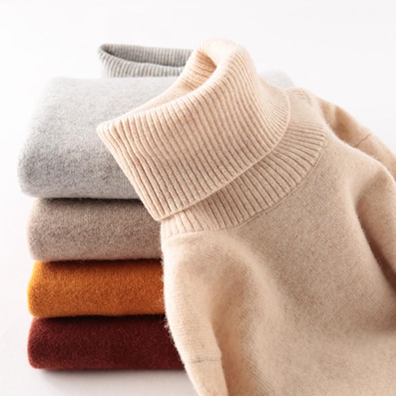 100% Merino Wool Women Turtleneck Sweater 2021 Autumn Winter Warm Soft knitted Pullover Femme Jumper Women Cashmere Sweater