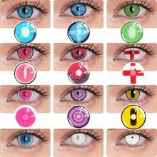 UYAAI 2Pcs/Pair Color contact lenses Cosplay Anime accessories Lenses anime White lenses Nezuko Pink Lens Halloween Eye Contact