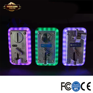 2PCS Universal Colorful LED Flash Decorative Front Type Coin Selector/ Illuminate Frame Coin Acceptor for Vending Arcade Machine