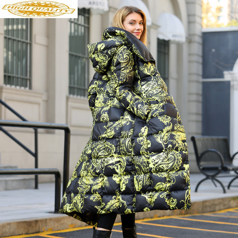 2020 New Long Down Jacket Women Winter Coat Print 90% White Duck Down Puffer Jacket Women Parka Casacas Para Mujer 15582 KJ2741