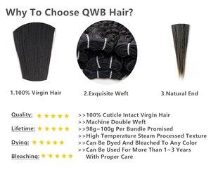 Image 2 - QWB משלוח חינם קינקי מתולתל 3 צרור/הרבה 12 ~ 24 Professional יחס שיער ברזילאי לא מעובד טבע צבע 100% שיער טבעי הארכת