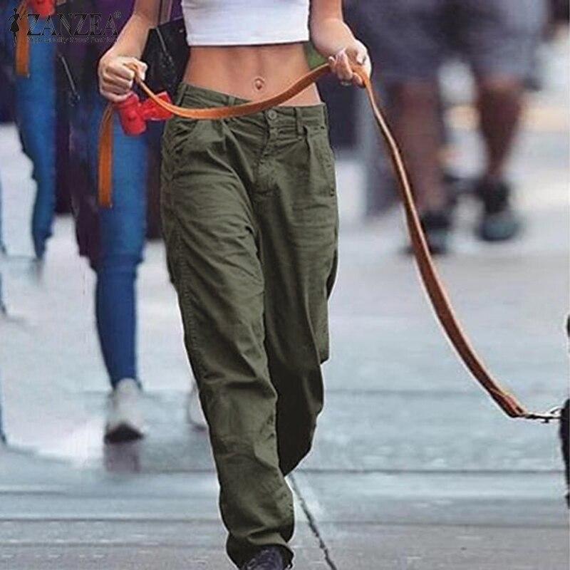 ZANZEA Autumn Stylish Tactical Pants Women Casual Long Pants Solid Straight Trousers Female Zipper Pantalon Plus Size Harem Pant