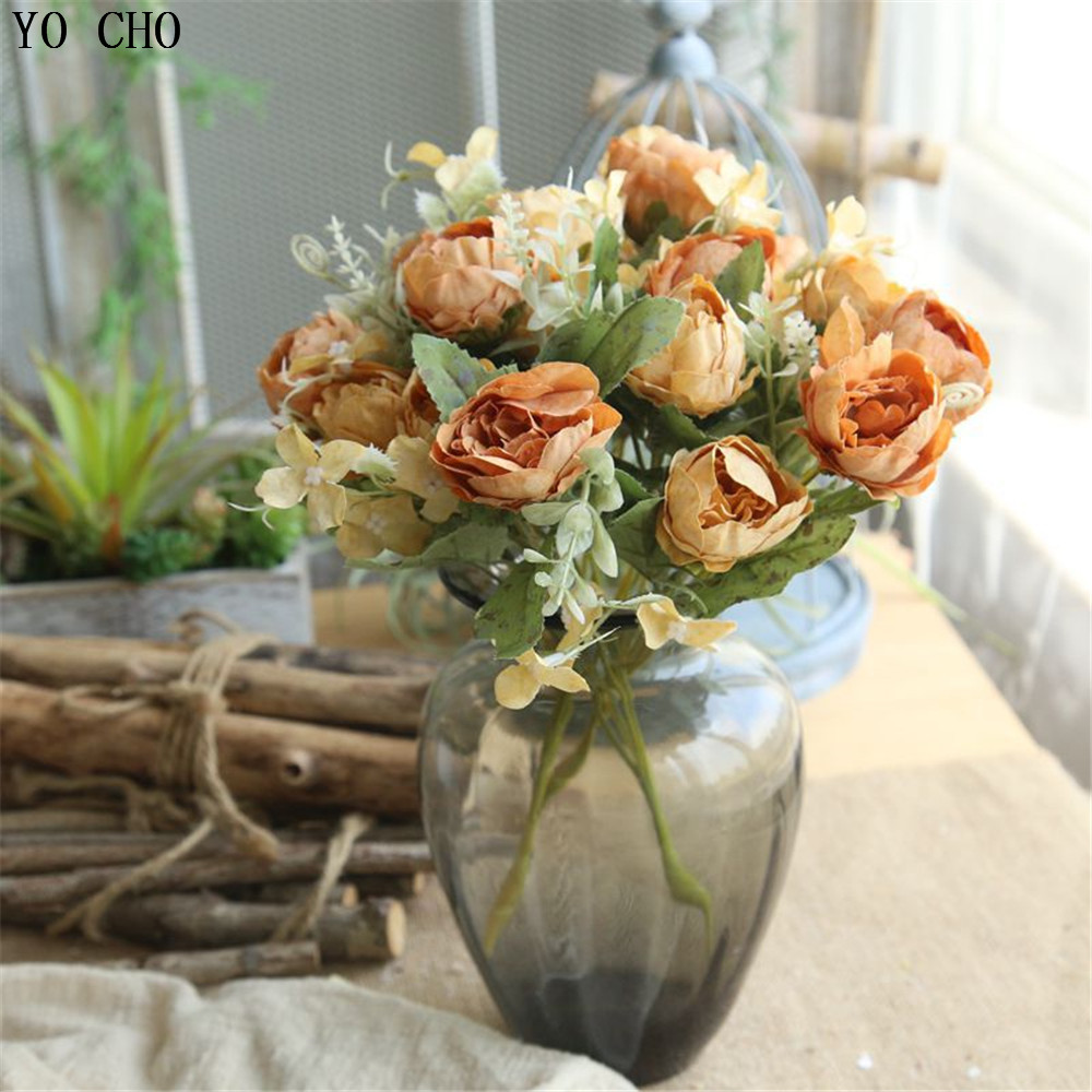 YO CHO 6 Heads Artificial Flowers Roses Silk Fake Flowers Bunch For DIY Home Garden Wedding Table Decoration Simulation Flores