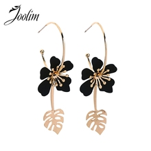 Joolim Black Red Flower 3 in1 Convertible Hoop Earring Design Jewelry Statement Leaf Customize