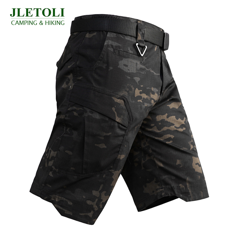JLETOLI Summer Hiking Shorts Men Multi Pocket Loose Camouflage Short Outdoor Climbing Army Military Training Tactical Shorts