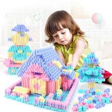 450PCS Spaß Puzzle Bausteine Stadt Burg Haus DIY Kreative Ziegel Block Modell Figuren Pädagogisches Spielzeug Für Kinder Geschenke