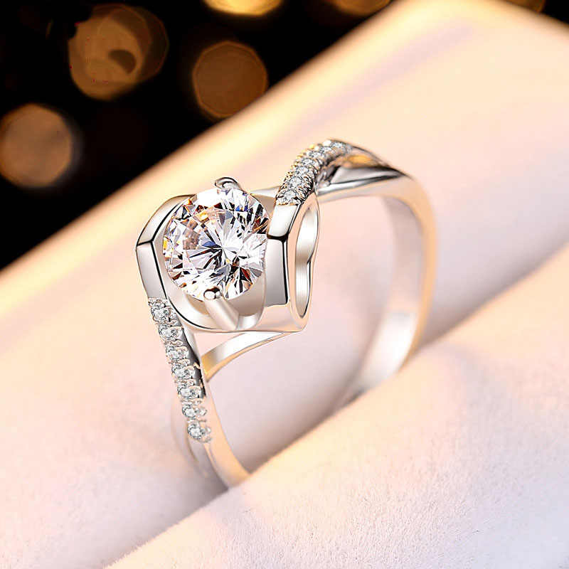 1ct Anel de Noivado Mulheres CZ Pedra Anel Romântico Presente para o Amante Genuine 925 Prata Esterlina Jóias Surpresa Presente para Namorada