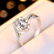 купить 1ct Engagement Ring Women CZ Stone Romantic Ring Gift for Lover Genuine 925 Sterling Silver Jewelry Surprise Gift for Girlfriend дешево