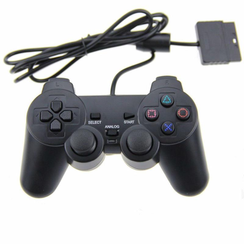Eastvita cor transparente com fio controlador para sony ps2 gamepad dupla vibração controlador claro para playstation 2