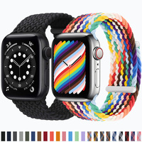 Correa de nailon trenzado Solo para Apple Watch, banda elástica de 44mm, 40mm, 42mm y 38mm, iWatch 3, 4, 5, SE, 6