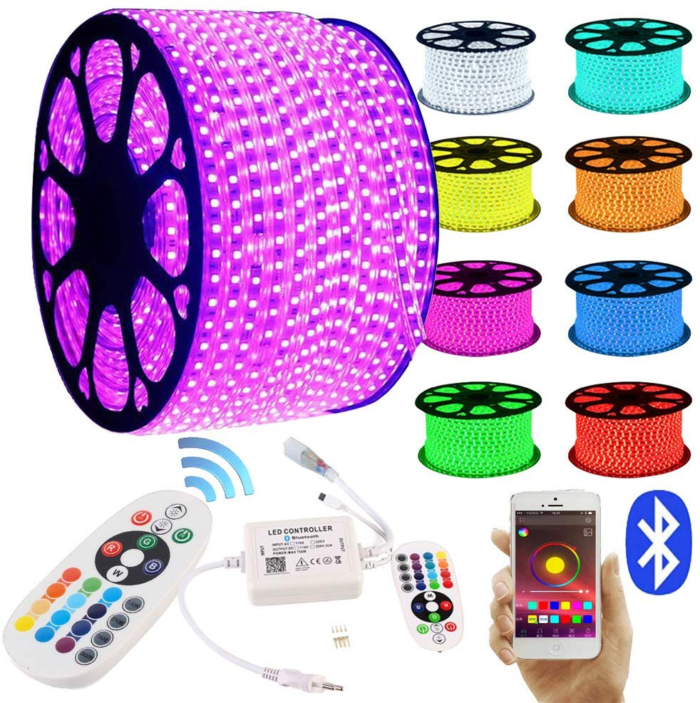LED Strips20M 30M RGB LED Strip Bluetooth Controlled Lightband 24 Keys Remote Control Light Hose Waterproof IP65 Light Chain