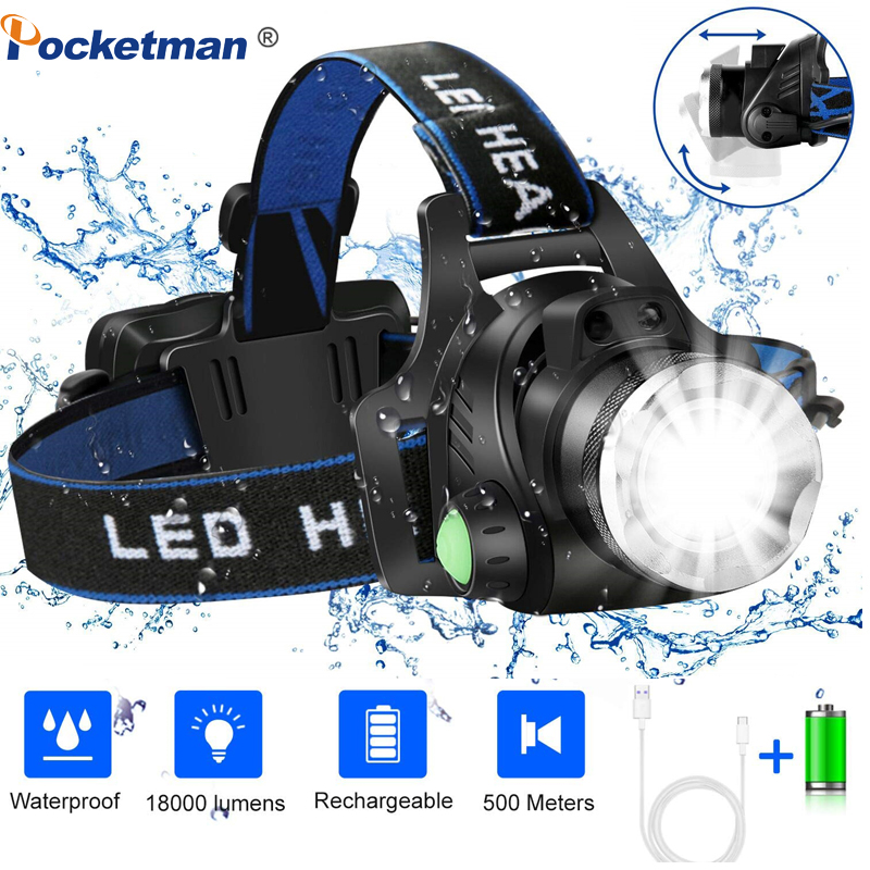 Headlamp Led 3 Modes L2/T6 Zoomable Headlight Head Lamp Waterproof Head Torch Flashlight Powered By 2*18650 Battery For Camping