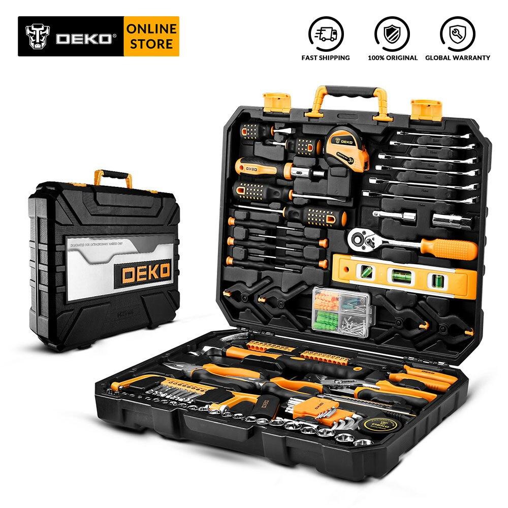 DEKO Hand Tool Set Allgemeine Haushalts Reparatur Hand Tool Kit mit Kunststoff Werkzeug box Lagerung Fall Hammer Schraubendreher Ratsche