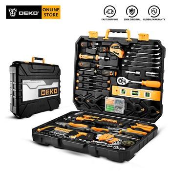 DEKO Hand Tool Set General Household Repair Hand Tool Kit with Plastic Tool box Storage Case Hammer Screwdriver Ratchet Wrench