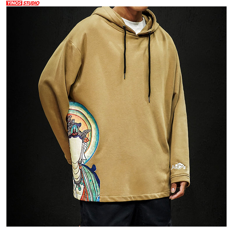 Dropshipping Autumn Men Solid Causal Hooded Sweatshirt Vintage Buddha Mens Hoodies Outwear Cotton Pullover